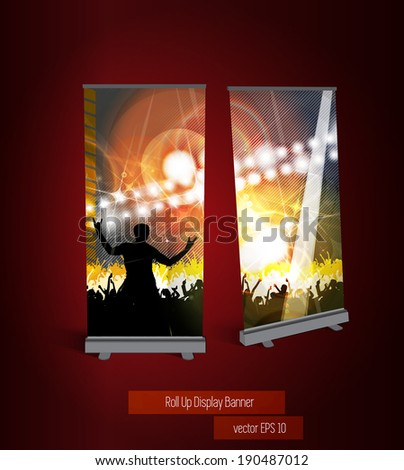 Music party roll up banner, vector - stock vector