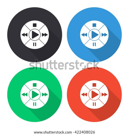 music player control button vector icon - colored round buttons with long shadow