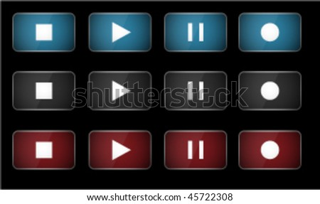 Music player glossy vector buttons - stock vector