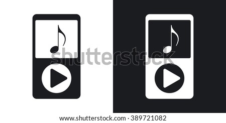 Music player icon, stock vector. Two-tone version on black and white background - stock vector