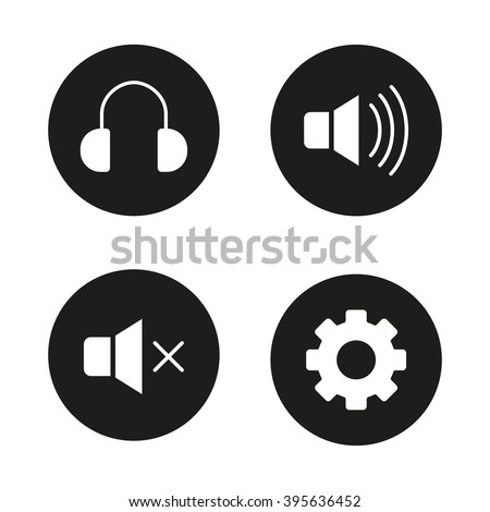 Music player interface black icons set. Headphones, mute, sound on and off, volume control, settings gear. Vector white silhouettes illustrations in circles - stock vector