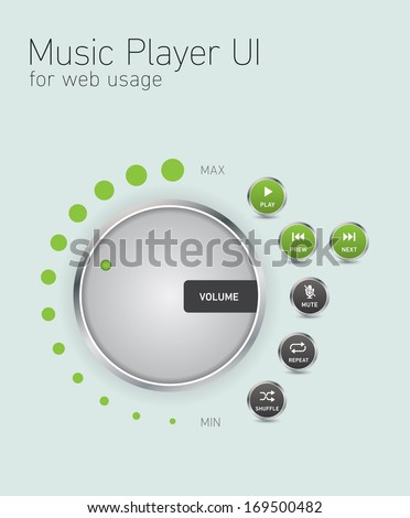 Music player user interface for web usage - stock vector