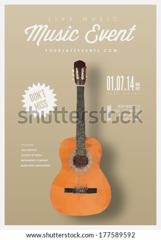 Music poster, background template. Guitar made with triangles. Vector design. - stock vector