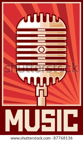 music poster (microphone) - stock vector