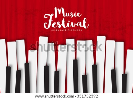 Music poster template. Vector flyer background with keyboard illustration. Texture effects can be turned off. A4 size. - stock vector