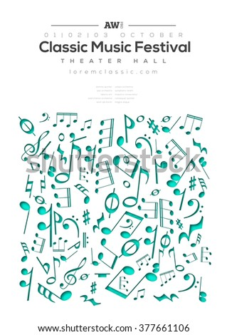 Music poster template. Vector flyer background with music notes illustration. A4 size. - stock vector