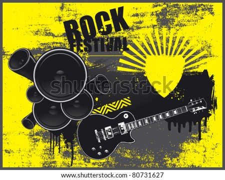 music poster with speaker text shield and guitar - stock vector
