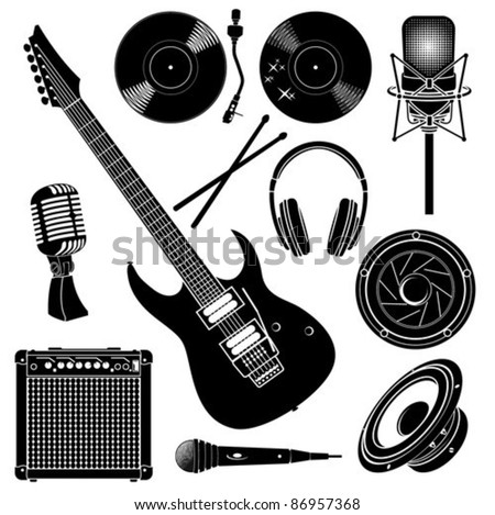 Music Recording Set - stock vector