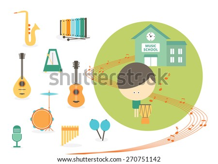 Music school, drum student with instruments - stock vector