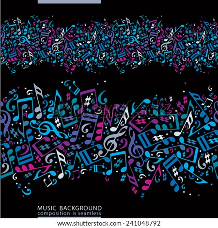 Music seamless abstract background with colorful notes and horizontal composition, vector illustration. - stock vector