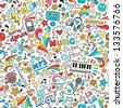 Music Seamless Pattern Groovy Notebook Doodles Illustration - stock photo