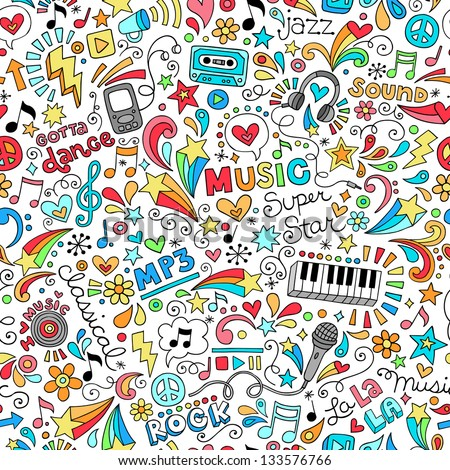 Music Seamless Pattern Groovy Notebook Doodles Illustration - stock vector