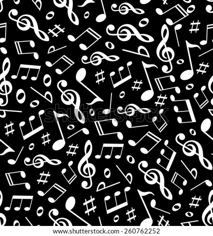 Music. Seamless Pattern. Vector background. Notes symbols texture.