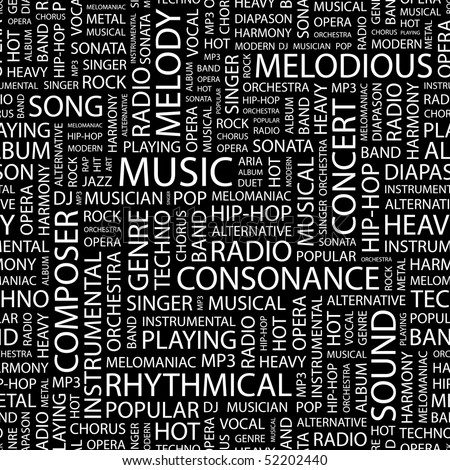MUSIC. Seamless vector pattern with word cloud. - stock vector