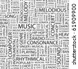 MUSIC. Seamless vector pattern with word cloud. Illustration with different association terms. - stock vector