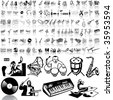 Music set of black sketch. Part 3. Isolated groups and layers. - stock vector