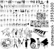 Music set of black sketch. Part 1. Isolated groups and layers. - stock vector