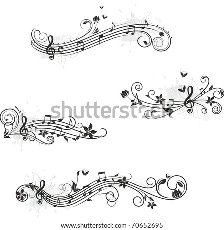 Music set of design elements - stock vector