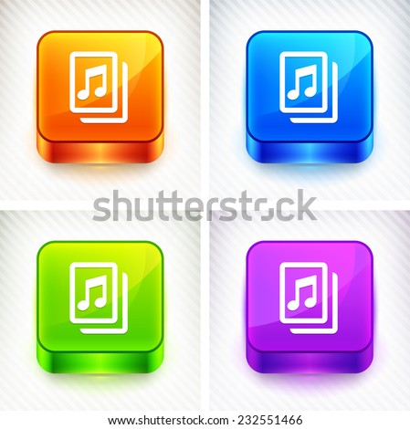 Music Sheet on Color Square Buttons