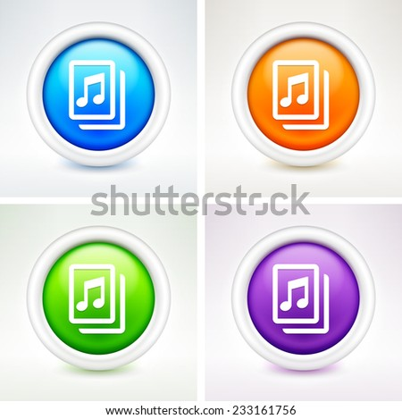 Music Sheet on Multi Color Round Buttons