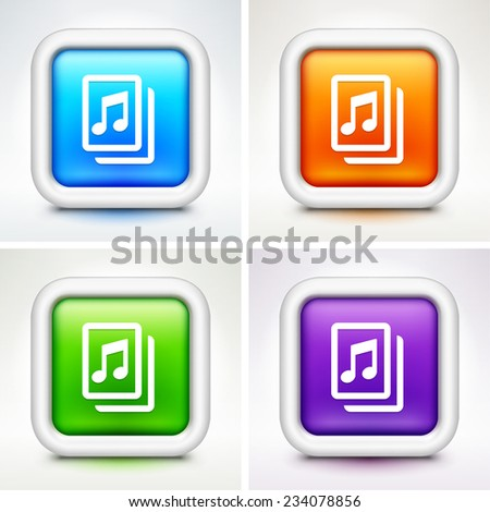 Music Sheet on Multi Color Square Buttons