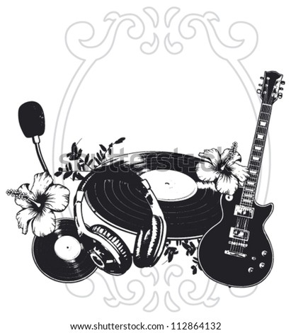 music shield with instruments and flowers - stock vector