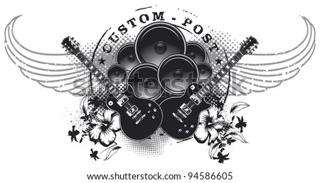 music shield with wings and speakers in stencil style - stock vector