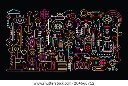 Music Shop abstract art vector illustration. Neon light silhouettes on black background.