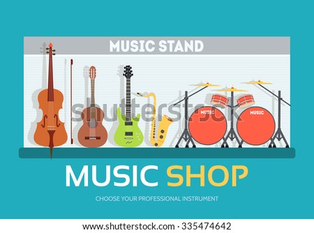 Music shop in flat design background concept.  Stand with musical instruments collection set. Icons for your product or illustration, web and mobile applications - stock vector