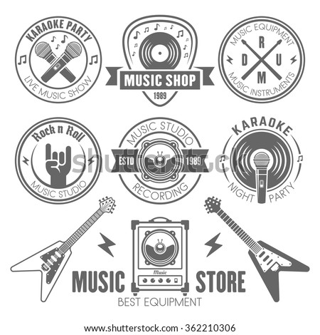Music shop, recording studio, karaoke club monochrome labels, badges, emblems and logos, set of vector design elements isolated on white background - stock vector