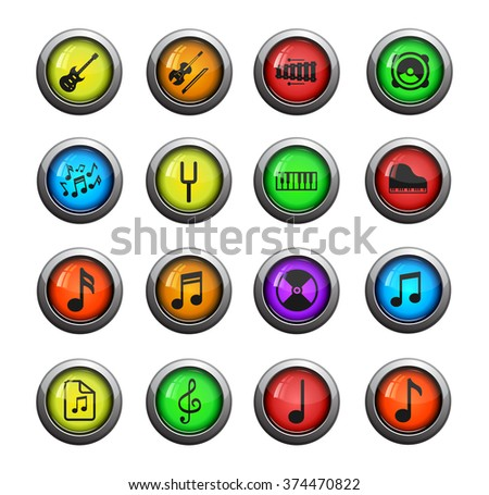 Music simple color icon for web sites and user interface - stock vector