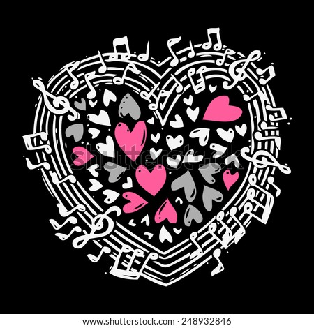 Music sketch concept with treble clef notes musical icons in heart shape vector illustration - stock vector