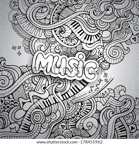 Music Sketchy Notebook Doodles. Hand-Drawn Vector Illustration - stock vector