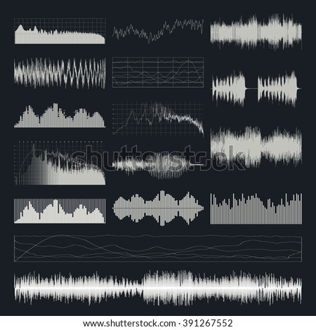 Music sound waves vector set isolated on a dark background. Classical music sound waveform. Sound waves vector black and white. Audio equalizer. Sound waves wallpaper.  - stock vector