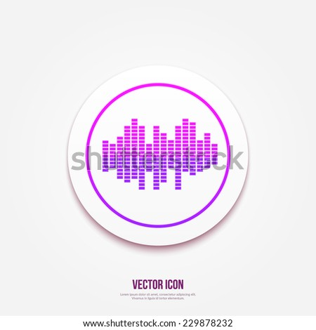 Music soundwave | Music bars icon. Vector illustration. Equalizer button - stock vector