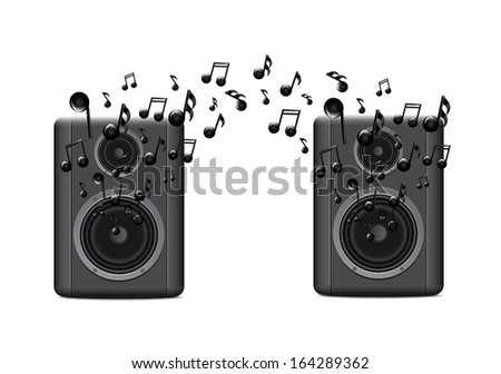 Music Speakers With Melody2 - stock vector
