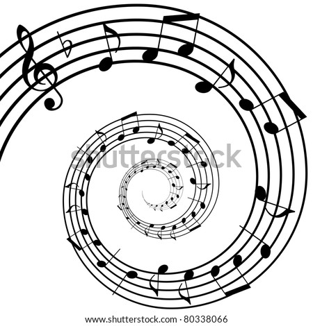 music spiral background - stock vector