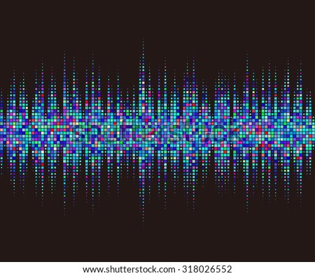 Music square waveform background. blue halftone vector sound waves. You can use in club, radio, pub, party, DJ, concerts, recitals or the audio technology advertising background.