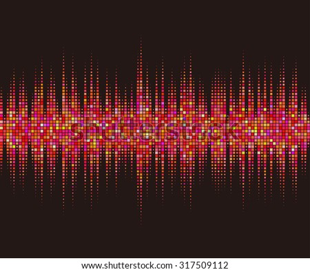 Music square waveform background. Red halftone vector sound waves. You can use in club, radio, pub, party, DJ, concerts, recitals or the audio technology advertising background.