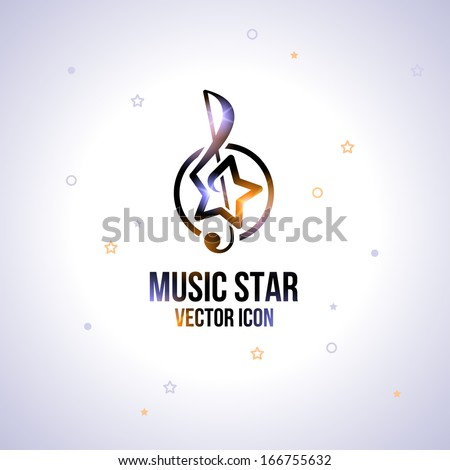 Music star icon. Abstract idea for business identity.  Trendy style. Vector illustration. Editable. - stock vector