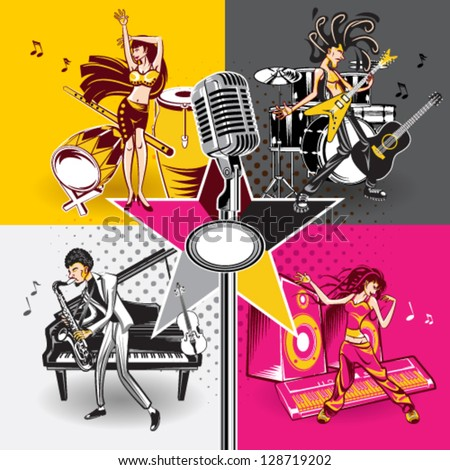 Music Star Idols Singing And Performance Rock, Jazz, Hip Hop And Folk Music - stock vector