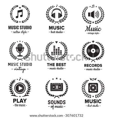 Music studio logos with wreaths vintage vector set. Hipster and retro style. Perfect for your business design. - stock vector