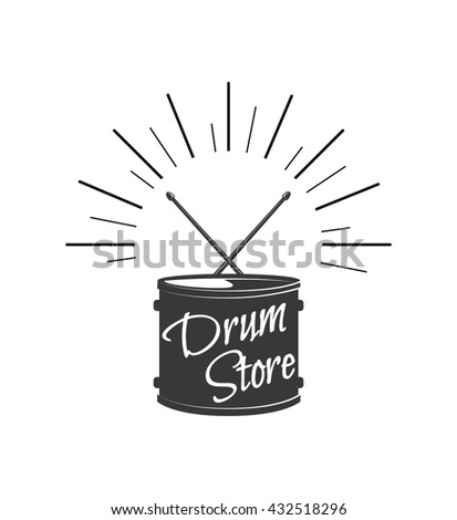 Music style logo templates. Drum and drumstics. Rock festival and rock'n'roll concert. Drum store label and badge. Music instrument and drummer.  - stock vector