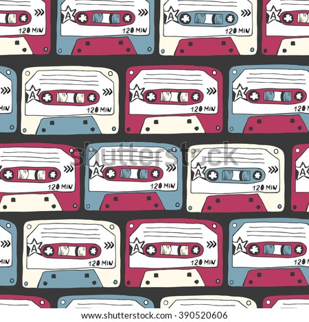 Music symbols. Seamless pattern of retro cassettes. rock music background textures, musical hand drawn doodle style.