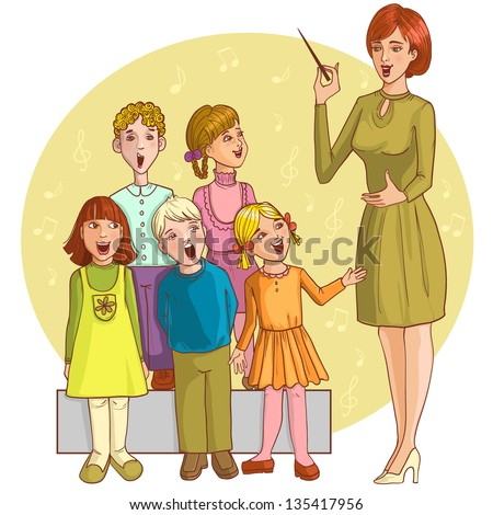 Music teacher singing with children chorus. Vector image of a young teacher in the classroom who gives music lesson to children - stock vector