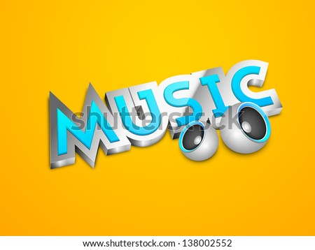 Music text with speakers on yellow background. - stock vector