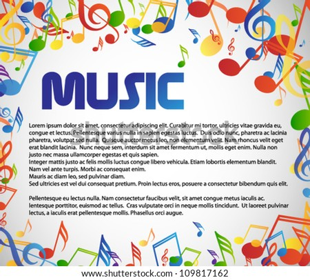 Music theme with many colorful notes - stock vector