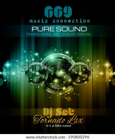 Music Themed background to use for Disco Club Flyers with a lot of abstract design elements, high contrast colors and space for text - stock vector