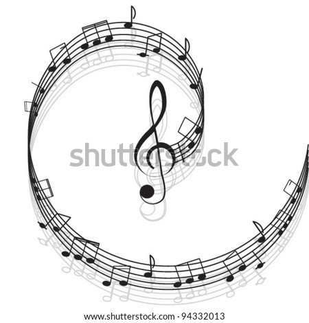 Music. Treble clef and notes for your design on a white background. - stock vector