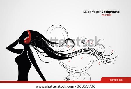 Music vector banner - stock vector
